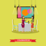 Vector illustration of New Years Eve celebration design element. Vector illustration of women with sparklers. Festive dinner, bottle of champagne on the table Royalty Free Stock Photography
