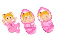 Vector Illustration of Newborn. Newborn Babies Girls Set. Baby Sleep, Smile, Plays. Newborn Babies Sleeping. Royalty Free Stock Photo