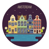 Vector illustration of night Amsterdam cityscape Royalty Free Stock Photo