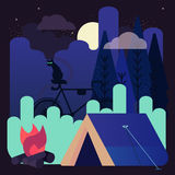 Vector illustration of night camping with one glowing tent under the stars. In a scenic place of wild nature with black cat and silhouette of dark forest Stock Image