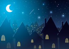 Vector illustration. Night city against the stars and the moon. Stock Image