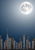 Vector illustration of night city with copy-space Royalty Free Stock Images