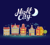 Vector illustration of night city landscape on dark blue sky. Background. Art design for web, site, advertising, banner, poster, flyer, brochure, board, card Stock Images