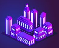 Vector illustration of a night glowing neon city. Bright and glowing neon purple and blue lights. Neon city landscape. EPS 10 stock illustration