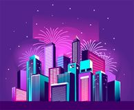 Festive neon city. Vector illustration of a night glowing neon city a multi-storey group of buildings in a bright glow of festive fireworks Royalty Free Stock Photos