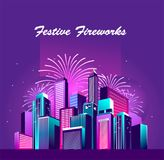 Festive neon city. Vector illustration of a night glowing neon city a multi-storey group of buildings in a bright glow of festive fireworks Stock Image