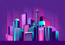 Festive neon city. Vector illustration of a night glowing neon city a multi-storey group of buildings in a bright glow of festivities Stock Images