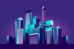 Festive neon city. Vector illustration of a night glowing neon city a multi-storey group of buildings in a bright glow of festivities Royalty Free Stock Image