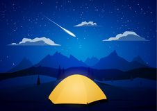 Night Mountains landscape with tents camp and meteor. Vector illustration: Night Mountains landscape with tents camp and meteor vector illustration