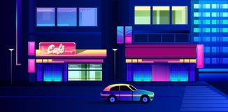 Night neon city. Vector illustration, night neon city, street with luminous signs and a cafe with shop windows royalty free illustration