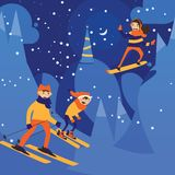 Vector illustration with night scene of christmas night and skiing family. Happy activity on snow hills.  royalty free illustration