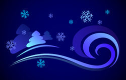 Vector illustration of a night snowstorm. Vector illustration of a night snowstorm and spruce. Blue blizzard night snowflakes, wind Royalty Free Stock Photography