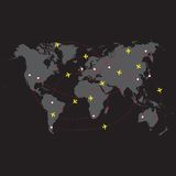 Vector illustration night travel world map Stock Photography