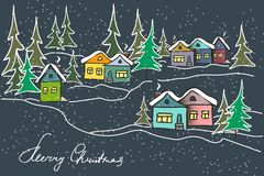Night winter landscape. Caramel multicolored houses, firs. stock illustration