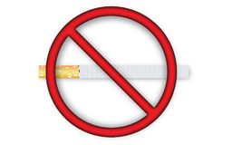 No Smoking Sign With Cigarette Icon. Vector illustration of no smoking symbol with realistic cigarette illustration Royalty Free Stock Photos