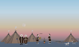 Vector illustration of northern people and their houses, flat style Stock Images