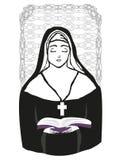 Vector illustration of nun Stock Photography