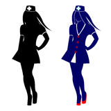 Vector illustration of nurse, black silhouette and detailed blue Royalty Free Stock Image