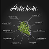Vector illustration of nutrients list for artichoke on chalkboard backdrop.  Stock Photography