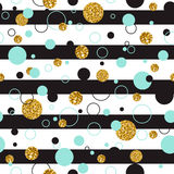 Vector illustration o of Universal Modern Stylish seamless Template with Golden Geometrical Glitter Dots, line. Creative Royalty Free Stock Image