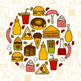 Vector illustration with objects on american food Stock Images