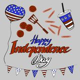Vector illustration objects happy independence day in red, blue and white colored for advertisment. Picnic, sausages, ball, 4 of. Vector illustration cute royalty free illustration