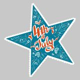 Vector illustration objects star with lettering fourth of july in red, blue and white colored for advertisment. Holiday, 4 of july stock illustration