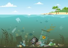 Vector illustration of ocean water full of dangerous waste at the bottom. Eco, water pollution concept. Garbage in the. Water, flat style stock illustration
