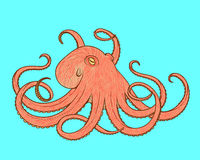 Vector illustration of octopus line art style. Design for t-shirt, posters. Stock Photo