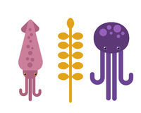 Vector illustration octopus and squid marine life animal. Royalty Free Stock Photo