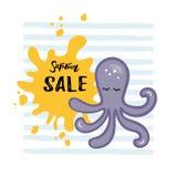 Vector illustration with Octopus, yellow paint splash. vector illustration