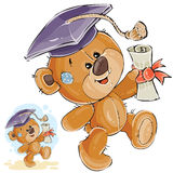 Vector Illustration Of A Cheerful Brown Teddy Bear In The Graduation Cap Holding In His Paw A University Diploma Stock Images