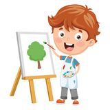 Vector Illustration Of A Kid Painting Royalty Free Stock Photos