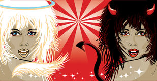 Vector Illustration Of Angel And Devil Royalty Free Stock Photography