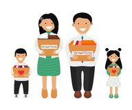 Free Vector Illustration Of Asian Family Holding Boxes Royalty Free Stock Photos - 160590008