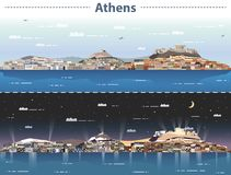 Free Vector Illustration Of Athens City Skyline At Day And Night Stock Photography - 128039702
