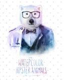 Vector Illustration Of Bear Portrait In Sunglasses Stock Image