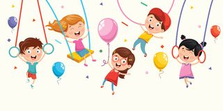 Free Vector Illustration Of Children Swinging Stock Photography - 120512192