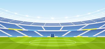 Free Vector Illustration Of Empty Sports Stadium With Lights In Flat Cartoon Style. Royalty Free Stock Image - 131543446