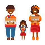 Vector Illustration Of Family With Donation Boxes Stock Photo