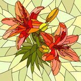 Vector Illustration Of Flower Red Lilies. Royalty Free Stock Photo