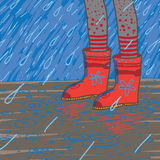 Vector Illustration Of Heavy Rain, Rubber Boots Royalty Free Stock Photos