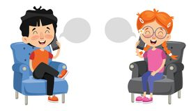 Free Vector Illustration Of Kid Talking On Phone Royalty Free Stock Photography - 122147917