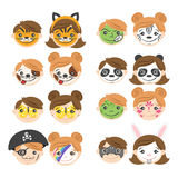 Vector Illustration Of Kids Faces. Face Painting For Kids. Royalty Free Stock Photography
