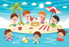 Free Vector Illustration Of Kids Playing At Beach Stock Images - 117836164