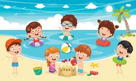 Free Vector Illustration Of Kids Playing At Beach Stock Image - 117836181