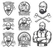Vector Illustration Of Lumberjack Emblems Royalty Free Stock Photo