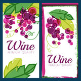 Vector Illustration Of Pink Grape Vine And Green Leaves. Set Of Royalty Free Stock Photos