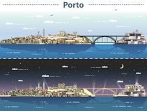 Free Vector Illustration Of Porto City Skyline At Day And Night Royalty Free Stock Image - 128039796