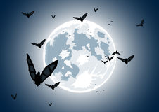 Vector Illustration Of Realistic Moon With Bats Stock Photography